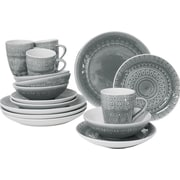Euro Ceramica Fez 16 Piece Dinnerware Set, Service for 4; Grey