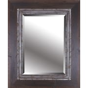Hobbitholeco. Brown Industrial I Hand Stained Wood Frame w/ Metal Beveled Mirror