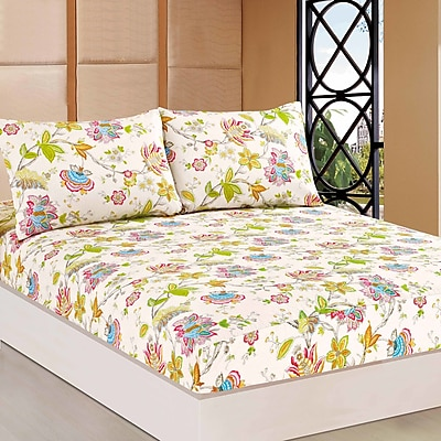 Tache Home Fashion Quiet Morning Gadern 100pct Cotton Fitted Sheet Set; Twin