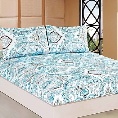 Tache Home Fashion Frozen Forest 100pct Cotton Fitted Sheet Set; King