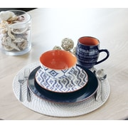 Baum Tangiers 16 Piece Dinnerware Set, Service for 4; Navy