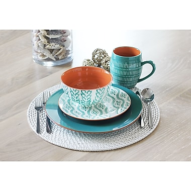 Baum Tangiers 16 Piece Dinnerware Set, Service for 4; Turquoise