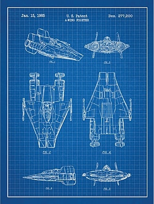 Inked and Screened Sci-Fi and Fantasy 'Star Wars Vehicles: A' Graphic Art in Blue Grid/White Ink