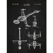 Inked and Screened Sci-Fi and Fantasy 'Star Wars Vehicles: B' Graphic Art in Chalkboard/White Ink