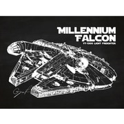 Inked and Screened Sci-Fi and Fantasy 'Millennium Falcon' Graphic Art in Chalkboard/White Ink