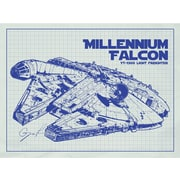 Inked and Screened Sci-Fi and Fantasy 'Millennium Falcon' Graphic Art in White Grid/Blue Ink