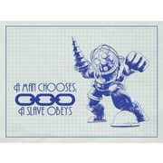 Inked and Screened Gaming 'BioShock ' Silk Screen Print Graphic Art in White Grid/Blue Ink