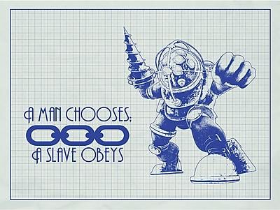 Inked and Screened Gaming 'BioShock ' Silk Screen Print Graphic Art in White Grid/Blue Ink
