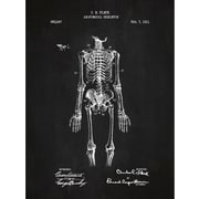 Inked and Screened Vintage Inventions 'Anatomical Skeleton 1911' Graphic Art in Chalkboard/White Ink