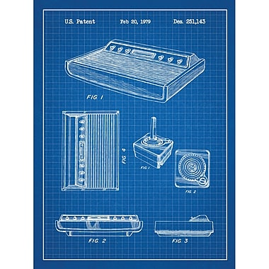 Inked and Screened Gaming 'Patent Prints ' Silk Screen Print Graphic Art in Blue Grid/White Ink