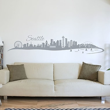 Style and Apply Seattle Skyline Wall Decal; Gray