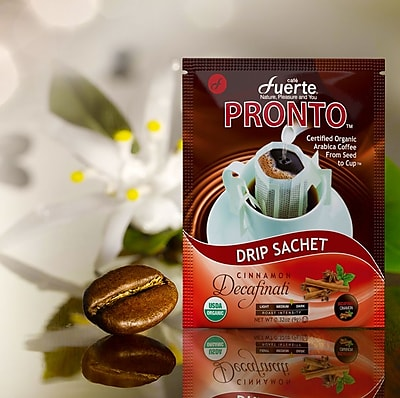 FUERTE® Pronto® Decaffeinati™ Drip Bag Organic Arabica Coffee, Natural Cinnamon Flavor Decaf, Pack of 18 (PDC-11)