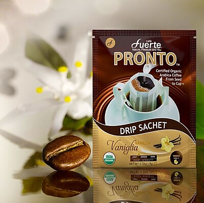 FUERTE® Pronto® Vaniglia™ Drip Bag Organic Arabica Coffee, Vanilla Natural Flavor, Pack of 18 (PVV-26)