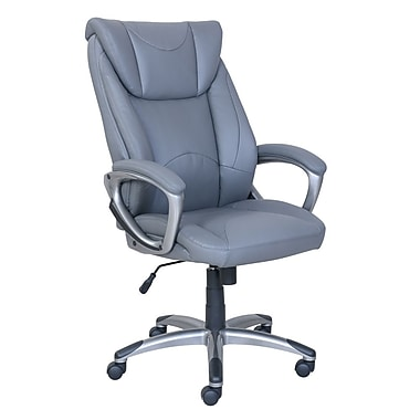 True Grayson Leather Manager Chair, Grey