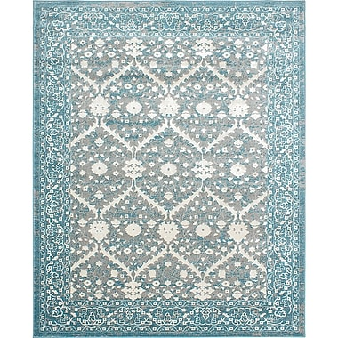 Ecarpetgallery – Tapis Bardot 8 x 10 pi, gris/turquoise clair