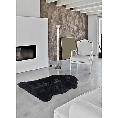 Ecarpetgallery – Tapis luxueux en peau de mouton à 100 %, 2 x 3 pi, noir