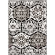 "ECARPETGALLERY 3'11"" x 5'3"" Crown Rug, Black, Light Grey"