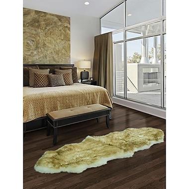 Ecarpetgallery – Tapis luxueux en peau de mouton à 100 %, 2 x 6 pi, pointe brune