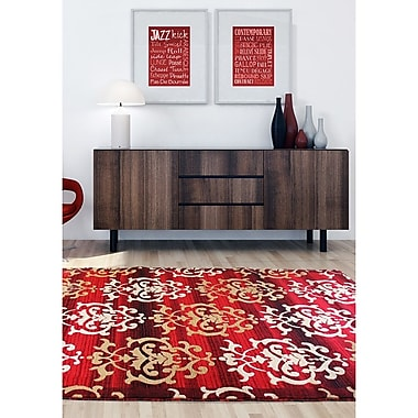 Ecarpetgallery – Tapis Crown 6 pi 7 po x 9 pi 6 po, rouge