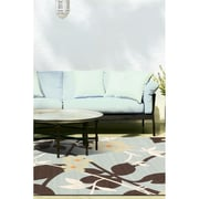 "ecarpetgallery 3'3"" x 4'11"" Tropicana Rug, Dark Brown/Light Blue"