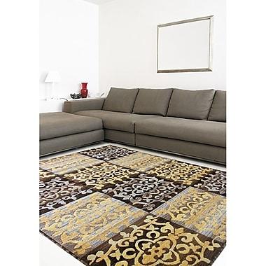Ecarpetgallery – Tapis Crown 3 pi 11 po x 5 pi 3 po, brun foncé/or pâle