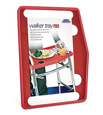 North American Health + Wellness Walker Tray with Grip Mat Red (JB7591RED)