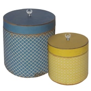American Mercantile 2 Piece Wood Round Hat Box Set