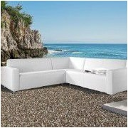 SunTime Outdoor Living Frejus Sectional Sofa w/ Cushions; White