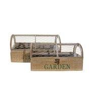 American Mercantile 2 Piece Wood Planter Box Set