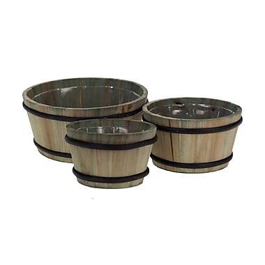 American Mercantile 3-Piece Wood Barrel Planter Set