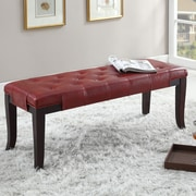 Roundhill Furniture Linion Bench; Red