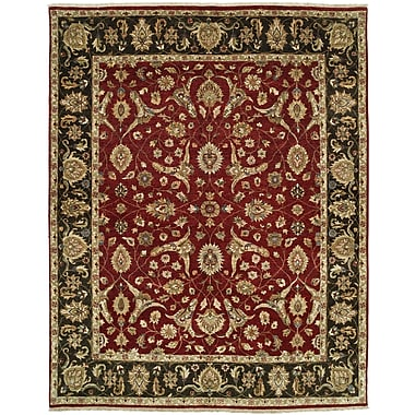 Shalom Brothers Royal Zeigler Hand-Knotted Black/Red Area Rug; 6' x 9'