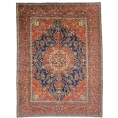 Eastern Rugs Mashad Hand-Knotted Blue/Red Area Rug