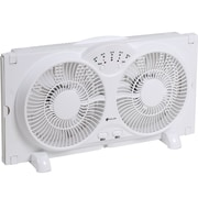 "Avalon Twin Window Fan w/ 9"" Blades, Reversible Air Flow & Adjustable Thermostat"