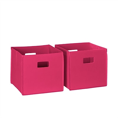 RiverRidge® Kids 2 Piece Folding Storage Bin Set - Hot Pink (Cut-out Handle) (02-097)