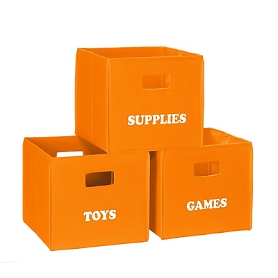 RiverRidge® Kids Orange Folding Storage Bin with Print - Toys (02-923)