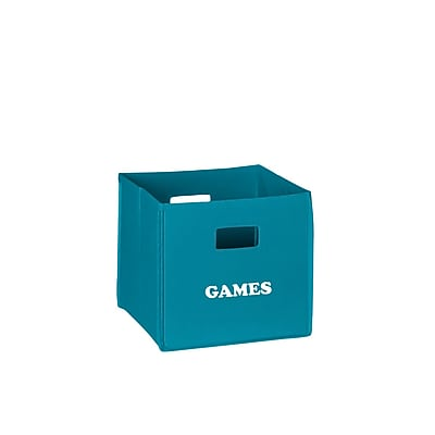RiverRidge® Kids Turquoise Folding Storage Bin with Print - Games (02-122)