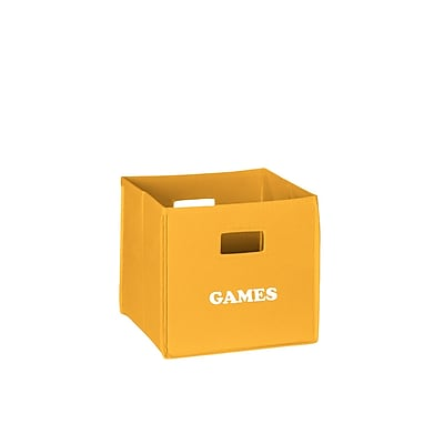 RiverRidge® Kids Golden Yellow Folding Storage Bin with Print - Games (02-123)