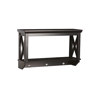 RiverRidge® Home Products X- Frame Collection Wall Shelf with Hooks - Espresso (06-006)