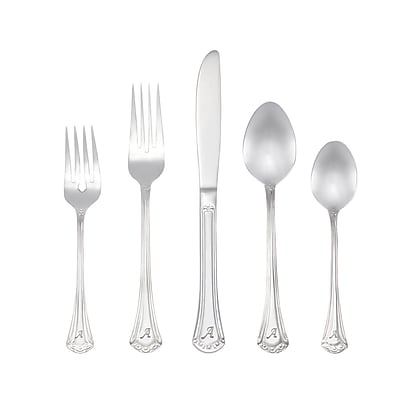 RiverRidge Home Products 10-226 Excelsior A 18/10 Stainless Steel 46 Piece Monogrammed Flatware Set