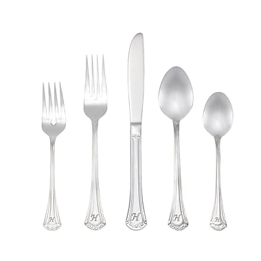 RiverRidge Home Products 10-233 Excelsior 18/10 Stainless Steel 46 Piece Monogrammed Flatware Set