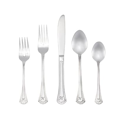 RiverRidge Home Products 10-233 Excelsior H 18/10 Stainless Steel 46 Piece Monogrammed Flatware Set