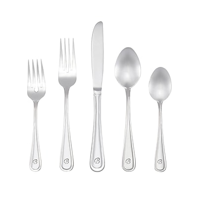 RiverRidge Home Products 10-200 Marina B 18/10 Stainless Steel 46 Piece Monogrammed Flatware Set