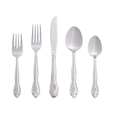 RiverRidge Home Products 5417-843-C Rose 18/0 Stainless Steel 46 Piece Monogrammed Flatware Set