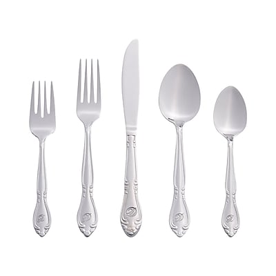 RiverRidge Home Products 5417-843-D Rose 18/0 Stainless Steel 46 Piece Monogrammed Flatware Set