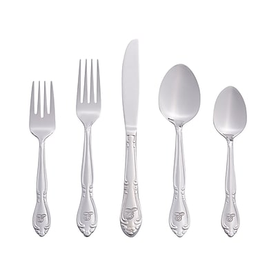 RiverRidge Home Products 5417-843-E Rose 18/0 Stainless Steel 46 Piece Monogrammed Flatware Set