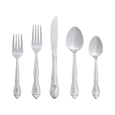 RiverRidge Home Products 5417-843-F Rose 18/0 Stainless Steel 46 Piece Monogrammed Flatware Set