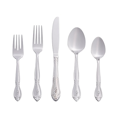 RiverRidge Home Products 5417-843-J Rose 18/0 Stainless Steel 46 Piece Monogrammed Flatware Set
