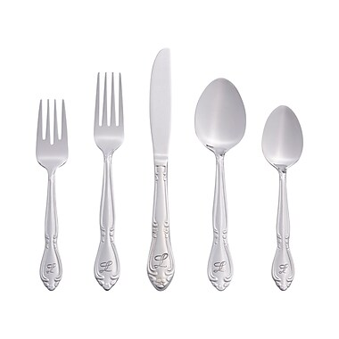RiverRidge Home Products 5417-843-L Rose 18/0 Stainless Steel 46 Piece Monogrammed Flatware Set