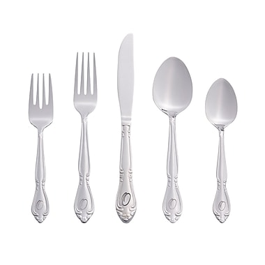 RiverRidge Home Products 5417-843-O Rose 18/0 Stainless Steel 46 Piece Monogrammed Flatware Set